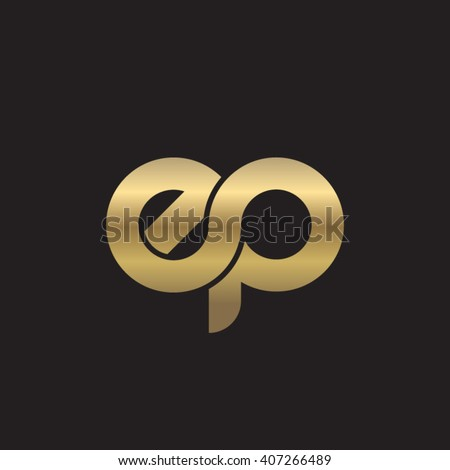 initial letter ep linked circle lowercase logo gold black background