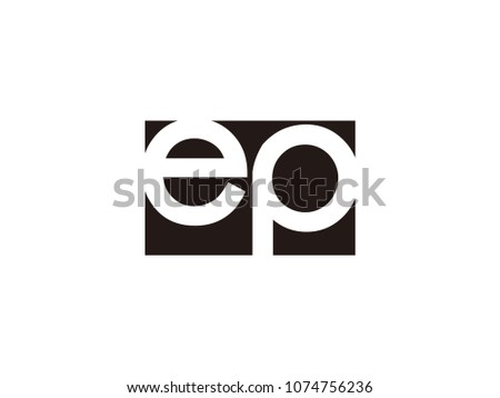 Initial letter ep lowercase logo black and white