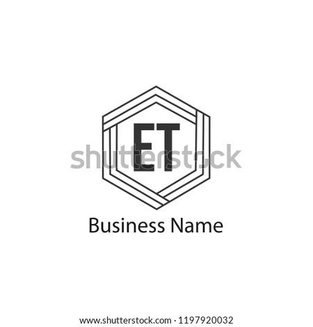 Initial Letter ET Logo Template Design Stock fotó ©