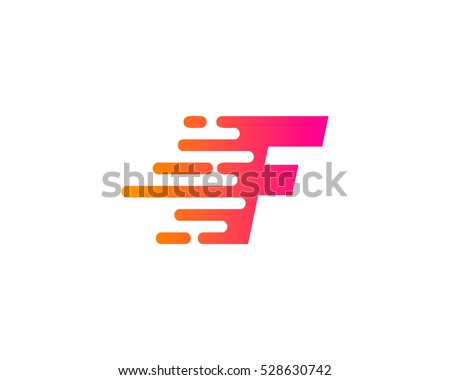 Initial Letter F Fast Speed Logo Design Template
