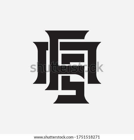 Initial letter F, N, S, FNS, FSN, NFS, NSF, SFN or SNF overlapping, interlock, monogram logo, black color on white background Stok fotoğraf ©