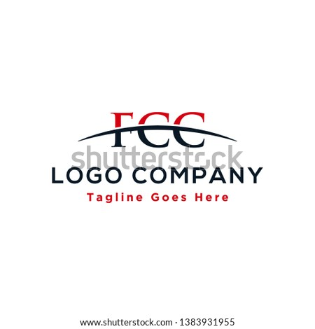 Initial letter FCC, overlapping movement swoosh horizon logo company design inspiration in red and dark blue color vector