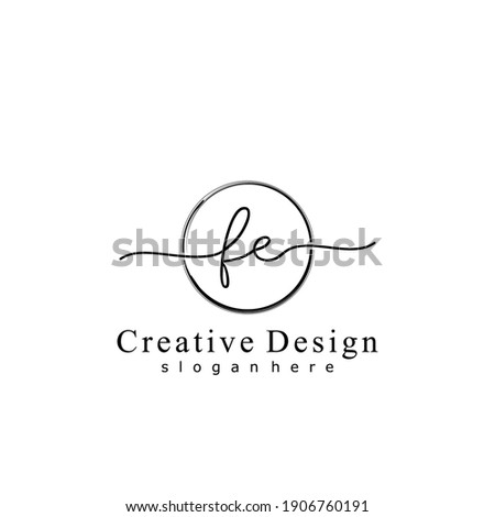 Initial letter FE calligraphy handwritten logo. Handwritten alphabet in the logo template. Letters and Alphabet for your logo design. Photo stock ©