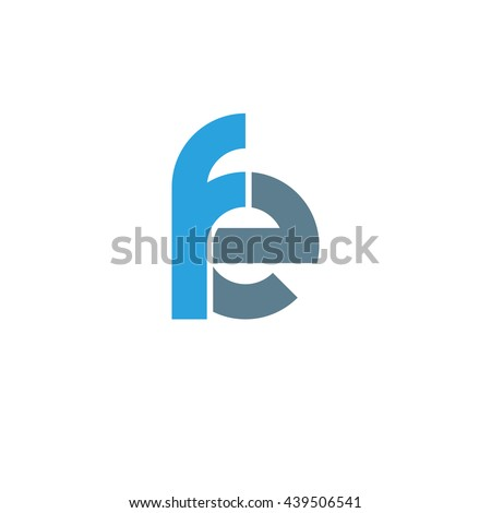 initial letter fe linked round lowercase logo blue Photo stock ©