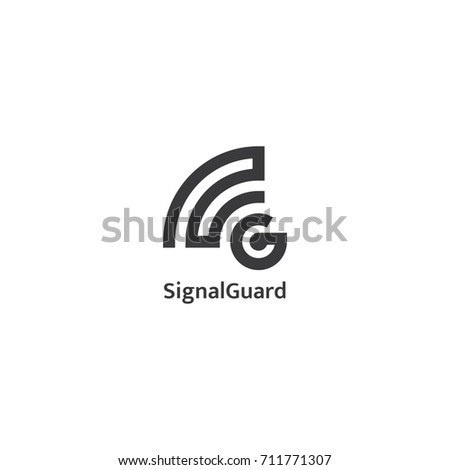 initial letter G logo. signal wave wifi wireless audio concept.