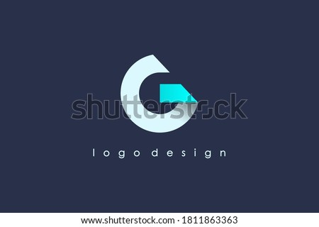 Initial Letter G Logo. White and Blue Circle Shape Origami Style isolated on Blue Background. Usable for Business and Branding Logos. Flat Vector Logo Design Template Element.