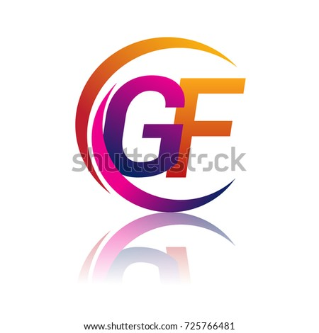 Initial Letter Gf Logotype Company Name Orange And Magenta Color On