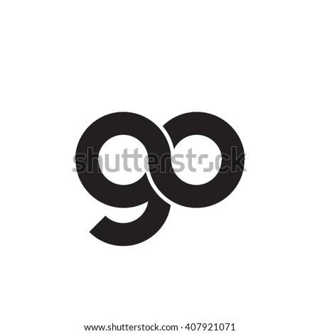 initial letter go linked circle lowercase monogram logo black Foto stock ©