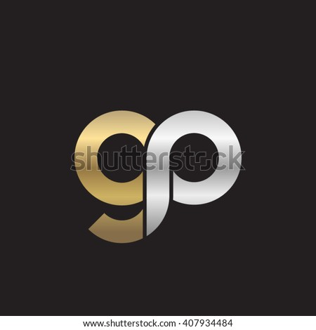 initial letter gp linked circle lowercase logo gold silver black background