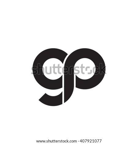initial letter gp linked circle lowercase monogram logo black
