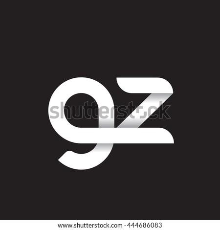 initial letter gz modern linked circle round lowercase logo white black Stok fotoğraf ©