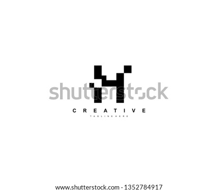 Initial Letter H Abstract Pixel Square Art Minimalist Logo Foto stock ©