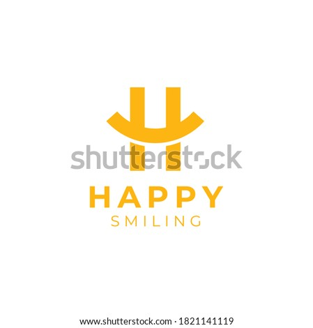 Initial Letter H Happy with curve like smile or smiley symbol logo design Stock fotó ©