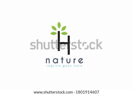 Initial letter H logo. Vector H letter business,natural brand logo design Stock fotó ©