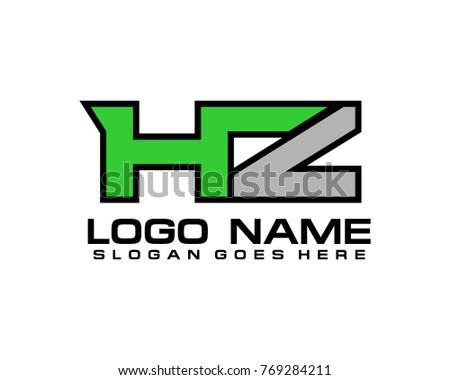 Initial letter H & Z logo template vector Stock fotó ©