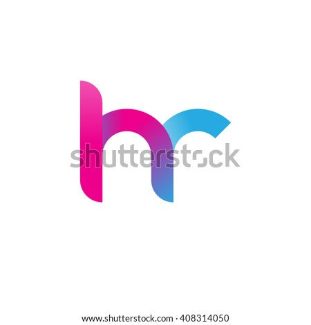 initial letter hr linked circle lowercase logo pink blue purple