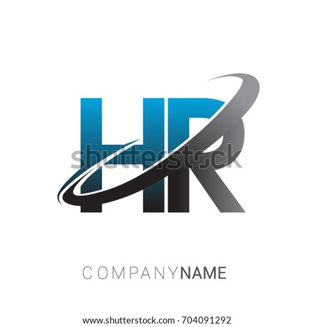 initial letter HR logotype company name colored blue and grey swoosh design. logo design for business and company identity.