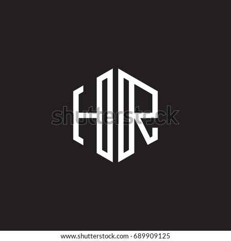 Initial letter HR, minimalist line art monogram hexagon shape logo, white color on black background