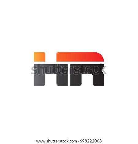 Initial letter HR, straight linked line bold logo, gradient fire red black colors