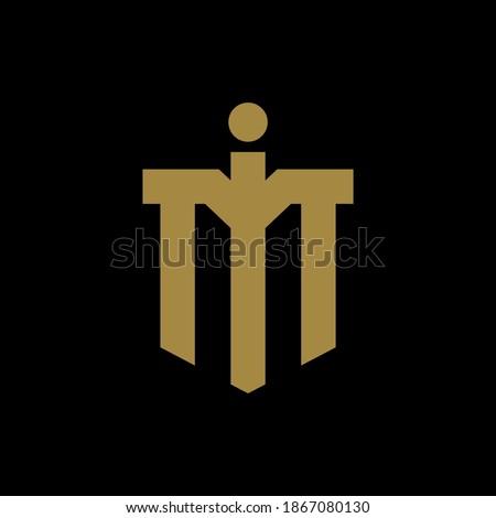 Initial letter I, M, IM or MI overlapping, interlock, monogram logo, gold color on black background Stok fotoğraf ©