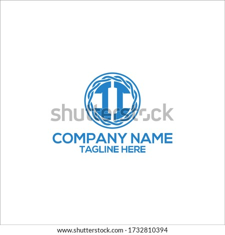 initial letter ii blue vector