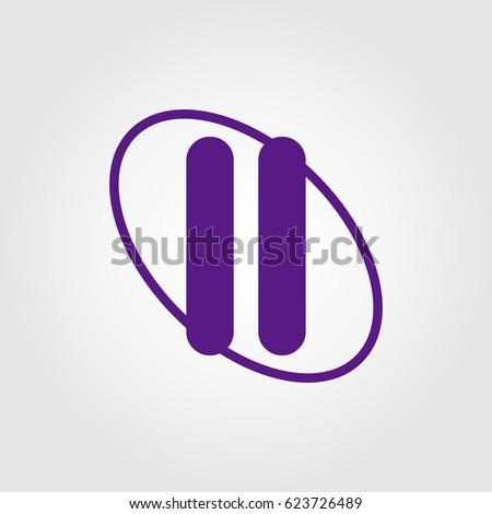 initial letter ii logo purple