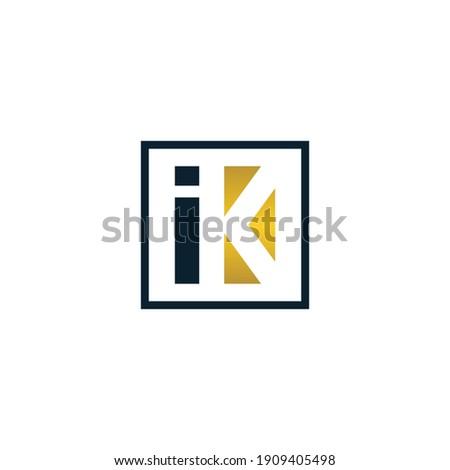 Initial letter ik or ki logo design template, simple monogram symbol Stock fotó ©