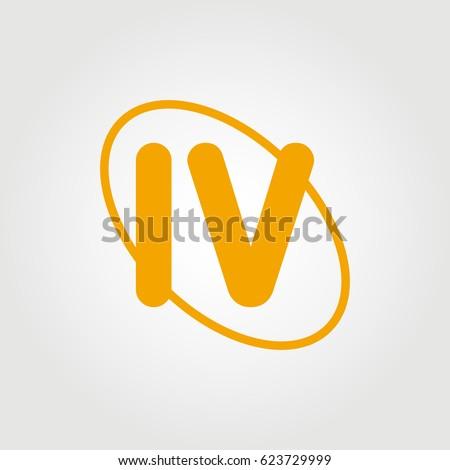 initial letter iv logo orange