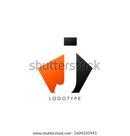 Initial Letter J logo icon. Vector design concept abstract techno geometrical shape with negative letter J logo icon.