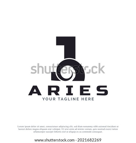 Initial Letter J with Goat Ram Sheep Horn for Aries Logo Design Inspiration. Animal Logo Element Template Foto stock ©