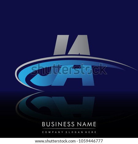 initial letter JA logotype company name colored blue and grey swoosh design. vector logo for business and company identity.