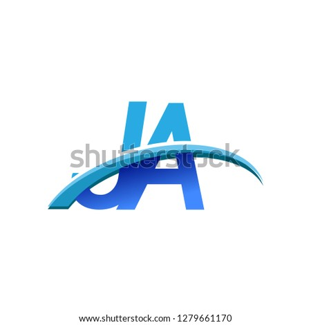 initial letter JA logotype company name colored blue and swoosh design. vector logo for business and company identity.