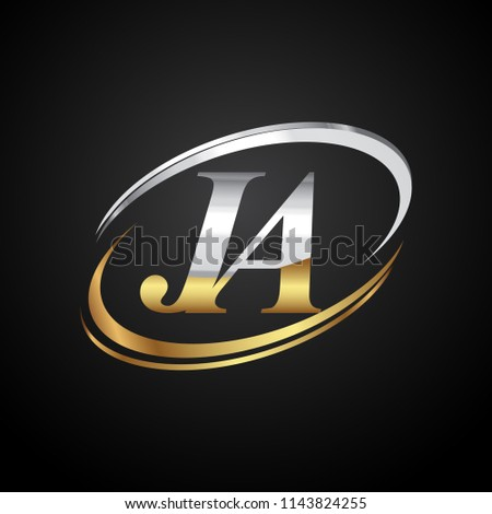 initial letter JA logotype company name colored gold and silver swoosh design. isolated on black background.