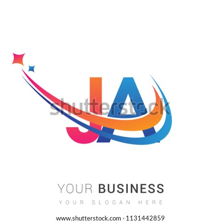 initial letter JA logotype company name colored orange, red and blue swoosh star design. vector logo for business and company identity.