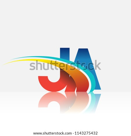 initial letter JA logotype company name colored red and blue and swoosh design. vector logo for business and company identity.