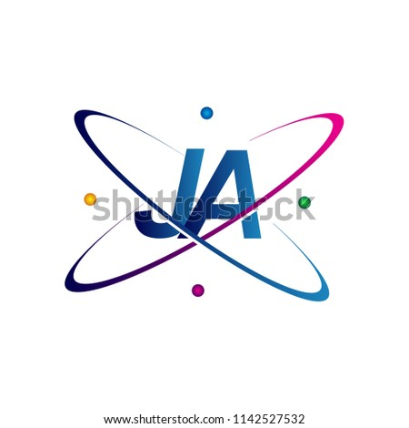initial letter JA logotype science icon colored blue, red, green and yellow swoosh design. vector logo for business and company identity.