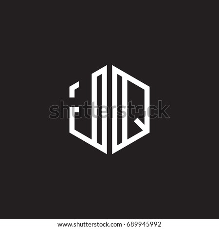 Initial letter JQ, minimalist line art monogram hexagon shape logo, white color on black background