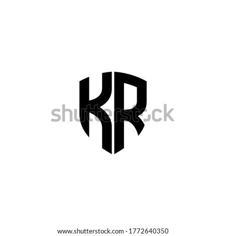 initial letter K and R, KR, RK logo, monogram line art style design template Stock fotó ©