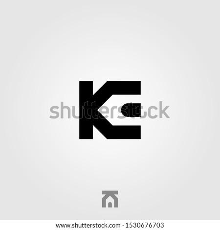 initial letter K E real estate house logo icon vector illustration design Stok fotoğraf ©