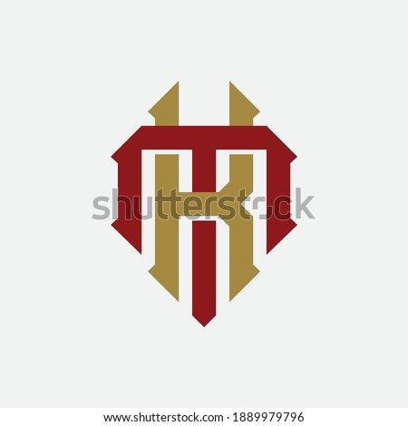 Initial letter K, M, KM or MK overlapping, interlock, monogram logo, red and gold color on white background Stock fotó ©