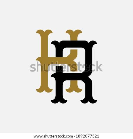 Initial letter K, R, KR or RK overlapping, interlock, monogram logo, black and gold color on white background Stock fotó ©