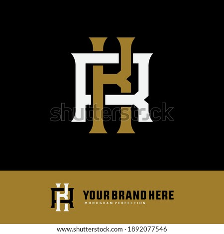 Initial letter K, R, KR or RK overlapping, interlock, monogram logo, white and gold color on black background Stock fotó ©