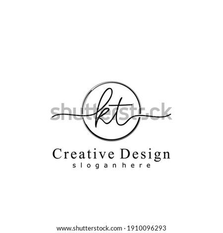 Initial letter KT calligraphy handwritten logo. Handwritten alphabet in the logo template. Letters and Alphabet for your logo design. Stok fotoğraf ©