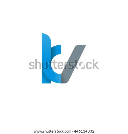 initial letter kv modern linked circle round lowercase logo blue gray