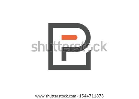 initial letter l and p flat line Stock fotó ©