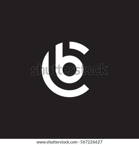 initial letter logo cb, bc, b inside c rounded lowercase white black background Foto stock ©