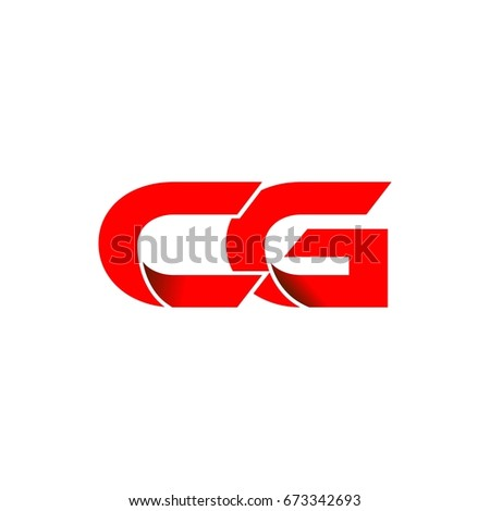 initial letter logo cg red fold
