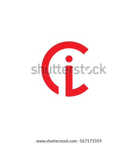 initial letter logo ci, ic, i inside c rounded lowercase red flat Stock fotó ©