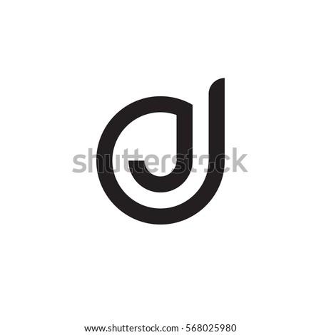 initial letter logo dj, jd, j inside d rounded lowercase black monogram Stock fotó ©