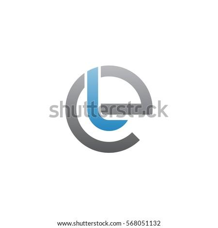 initial letter logo el, le, l inside e rounded lowercase blue gray Stock fotó ©